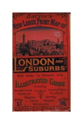 Bacon's new large print map of London and Suburbs. Illustrated guide