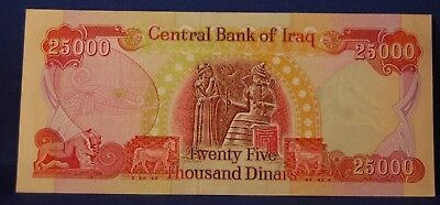 Central Bank Of Iraq 25000 Dinar Note Crisp Uncirculated