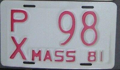MASSACHUSETTS  VINTAGE 1981 Low Number Motorcycle Cycle License plate  PX 98  ^