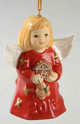 Goebel ANGEL BELL ORNAMENT 2013 Angel With Gingerbread House Red 10011474