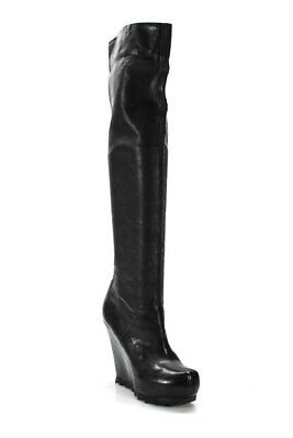 02b703375ff Camilla Skovgaard Womens Over The Knee Wedge Boots Black Leather Size 40 10