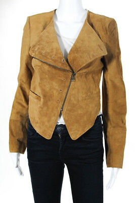 cbb7094d544 Charlotte Ronson Womens Zip Front Motorcycle Jacket Coat Brown Suede Size 4