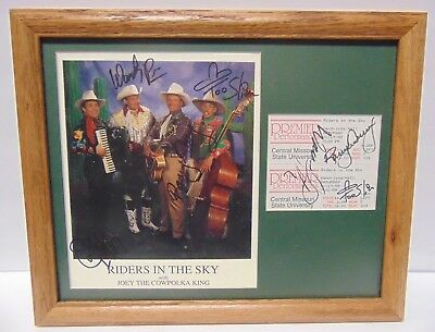 RIDERS IN THE SKY Group Signed Autographed Framed Country Music Photo + Tickets