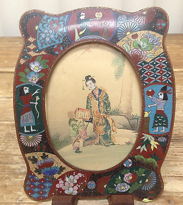 Cloisonné Marco de Fotos Antigüedad Japan Missing Back 579ms Raro Ovalado Forma