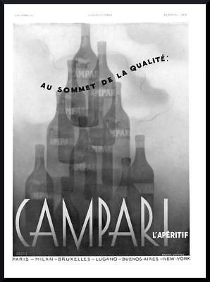 1937 ORIGINAL FRENCH SURREAL ART DECO ADVERT PRINT Campari Aperitif Ad (2295)