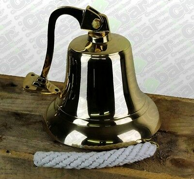 BGRADE Vintage Style Large Cast Brass Ships Bell - Nautical Marine Maritime Boat