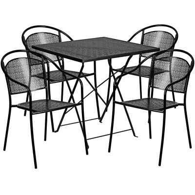 Flash Furniture Contemporary Table Chair Set In Black CO-28SQF-03CHR4-BK-GG