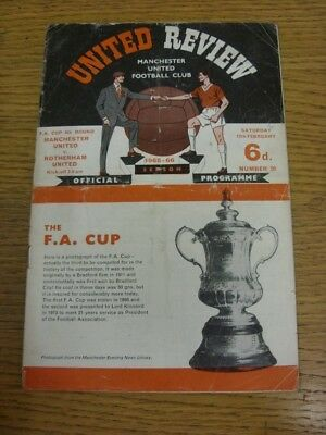 12/02/1966 Manchester United v Rotherham United [FA Cup] (worn spine, very creas