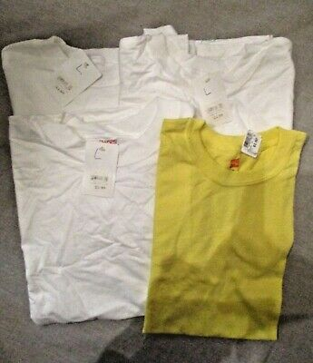 901B2-L7 Hanes Youth Beefy T 100% Cotton Tagless T-Shirt 4 Shirt YLG WhiteYellow