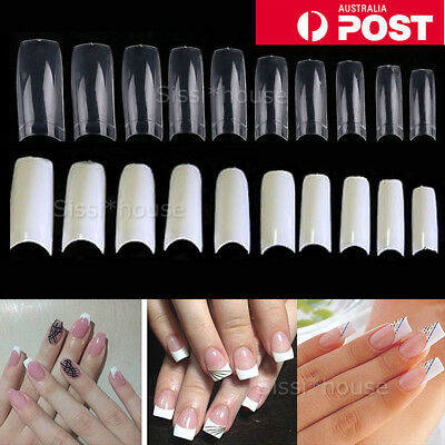 500Pcs Fake French Nail Tips White Clear Stiletto False Gel Pointy Art Acrylic
