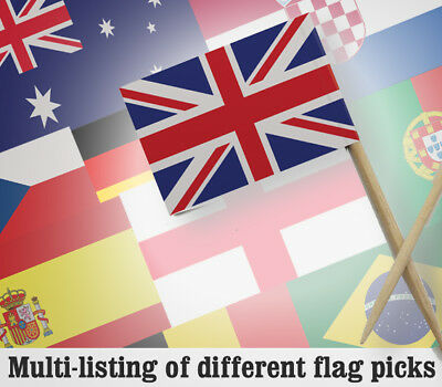 72 National Flag Picks - Flags on Cocktail Sticks - Fun Party Food Decorations