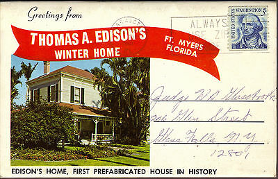 Thomas Edison's Winter Home Ft Myers Florida fold-out postcard 1967 postmark