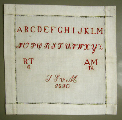 1910 Antique Dutch Needlework Sampler Very Finely Stitched Letters Numbers