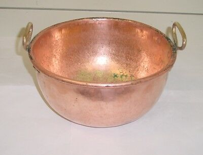 Beautiful antique French copper/brass MIXING BOWL 1880 hammered/dovetailed