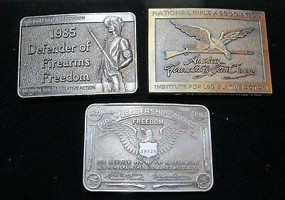 Lot of 3 Collectible BELT BUCKLES* NRA* National Rifle Association* circa 1980s
