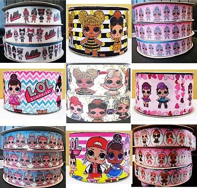 "LOL DOLLS Character Ribbon 25mm / 1"" to 75mm./ 3""  - UK Seller Loads to choose"