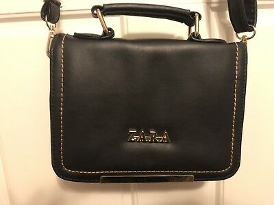 b90b3ac150e7 ZARA DOUBLE ZIP Patch Black Leather Strap City Bag Medium Handbag ...