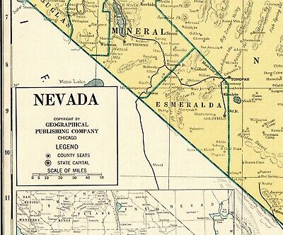 1944 ANTIQUE NEVADA State Map Vintage Map of Nevada Rare ...