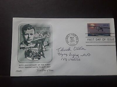 World War II Ace Flying Tiger AVG Chuck Older signed FDC First Day Cover...