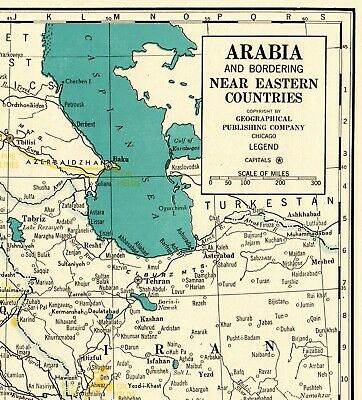 1944 Antique SAUDI ARABIA Map Vintage Iran Syria Iraq Map RARE Poster SIZE 6192