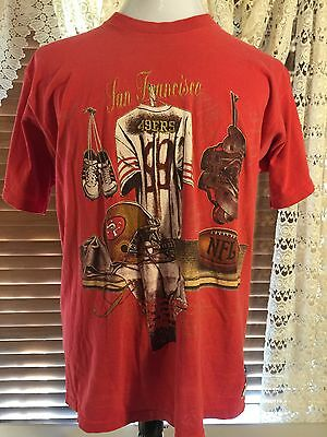 Mens VINTAGE NUTMEG San Francisco 49ers Football Large L Red T-Shirt NFL  Team d8cc18474