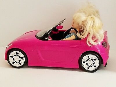 2009 Barbie Convertible Sports Car Pink Glam Zebra Print Seats Mattel & 2 Dolls