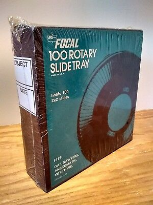 Focal 100 Rotary Slide Tray Projector holds 2 X 2 slides new in package vintage