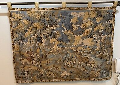 Antique French Tapestry Wall Hanging Aubusson Style - 110 X 150 Cm