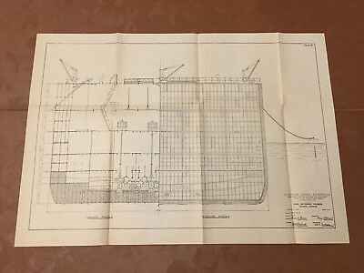 1913 Panama Canal Sketch Diagram Lock Entrance Caisson General Drawings