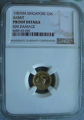 1987 Singapore 1/20oz.Gold 5 Singold NGC Proof-Details Rabbit