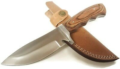 Pakkawood Handle Finger Groove Fixed Blade Hunting Knife w/ Leather Sheath