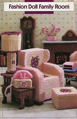 Fashion Doll Family Room ~ fits Barbie dolls, plastic canvas pattern booklet