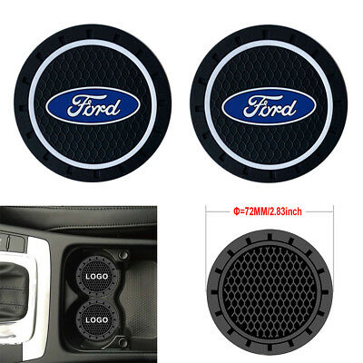 2PCS 2.8'' 72MM Silicone Car Logo Cup Holder Travel Auto Insert Coaster Can Ford