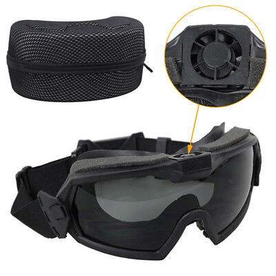 Tactical Regulator Goggles Anti-Fog Dust Ski Safety Goggles BK with Fan 2 Lens