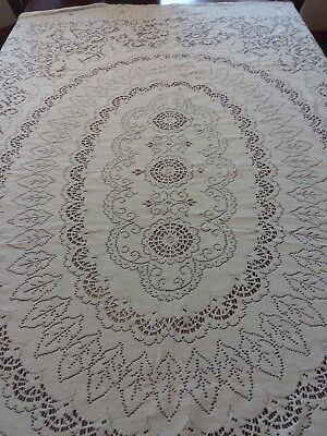 VINTAGE QUAKER LACE TABLECLOTH SOFT OFF WHITE LOOPS 78x62 Oblong NICE