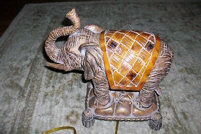"Gorgeous Ceramic Asian Elephant Lamp / Night Lite Light 12"" Long/tall"
