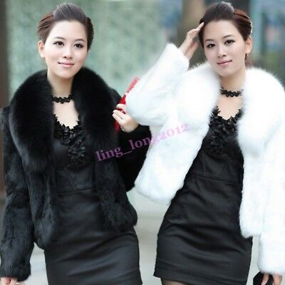Hot Womens Faux Fur Collar Short Winter Warm Short Fashion
