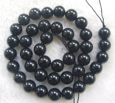 4mm 6mm 8mm 10mm 12mm Natural Black Tourmaline Round Loose Beads 15.5""