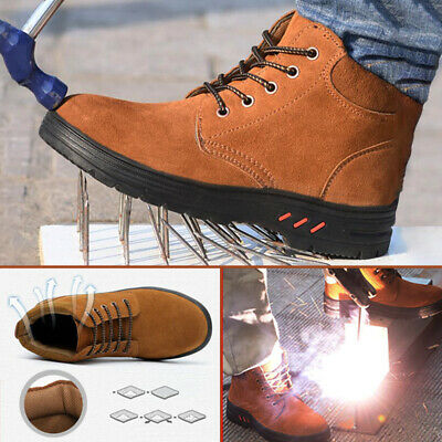 AtreGo Men Steel Toe Midsole Safety Shoes Athletic Lace Up Suede Ankle Work Boot