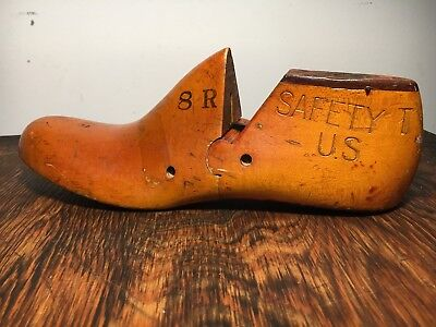 Antique Vintage Solid Wood Shoe Mold Last Form Safety US