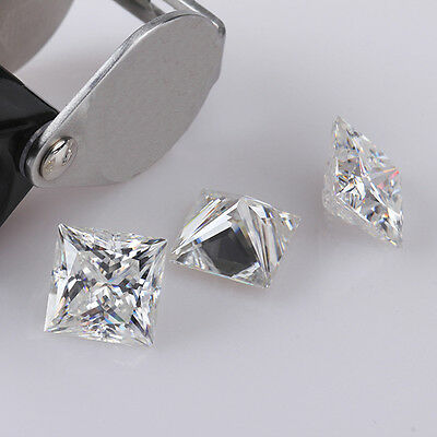 Loose Moissanite White F/G color 5.00 to 8.00 mm Princess Cut Best For Jewelry