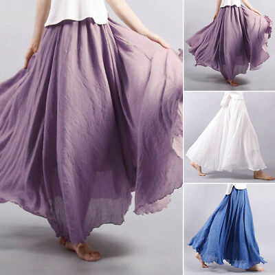 Layered Skirts Maxi Vintage Boho Solid Party Women Linen Pleated Beach Dress