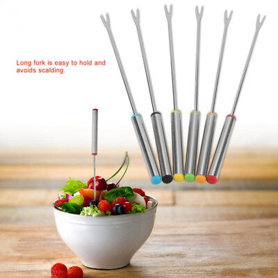 6PCS Fondue Dipping Forks Kitchen Craft Heat-Insulating Stainless Steel New -AZ8