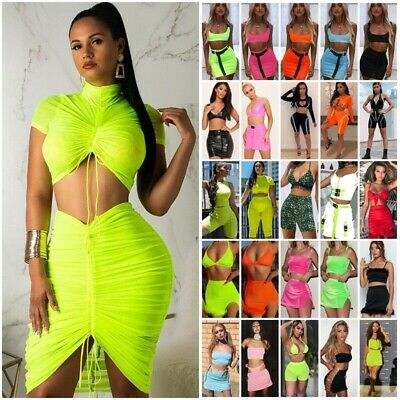 Womens Crop Top Bodycon Skirt Two Piece Co Ord Set Party Holiday Mini Dress UK