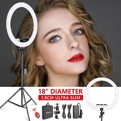 """18"""" Dimmable LED Ring Light (1.8cm Ultra Slim) with Stand and Phone Holder Kit"""