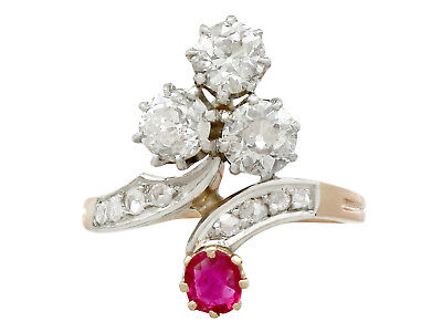 Antique French 1.71 Ct Diamond 0.30 Ct Ruby 18k Yellow Gold Twist Ring Size 5