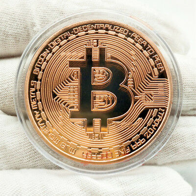 Rose Gold Round Bitcoin Commemorative Collectors BitCoin Gold Plated Coin Gift