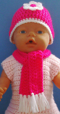 Baby Born dolls clothes - Hand made crochet  hat and scarf set