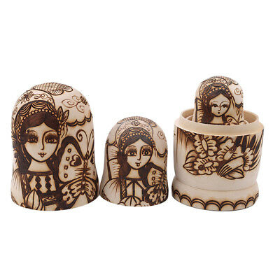 Funny Kids Gift Primary Color Wood Russian Matryoshka Dolls Girl Pattern Set BS