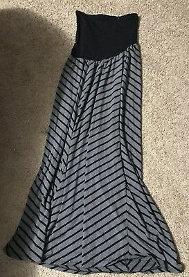 Maternity,Oh baby By Motherhood, Medium Over Belly maxi Skirt gray/black Stripes